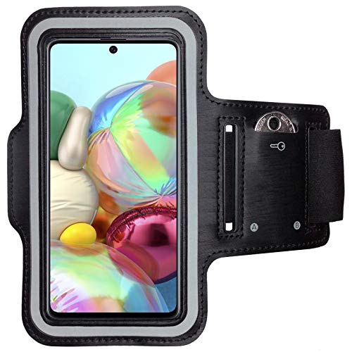 CoverKingz Sportarmband für Samsung Galaxy A71 - Armtasche mit Schlüsselfach Galaxy A71 - Sport Laufarmband Handy Armband Schwarz