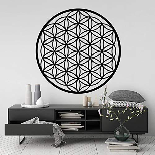 Flor de la vida pegatinas de pared geometría sagrada hogar dormitorio sala de estar Art Deco fondo móvil calcomanía A3 57x57cm