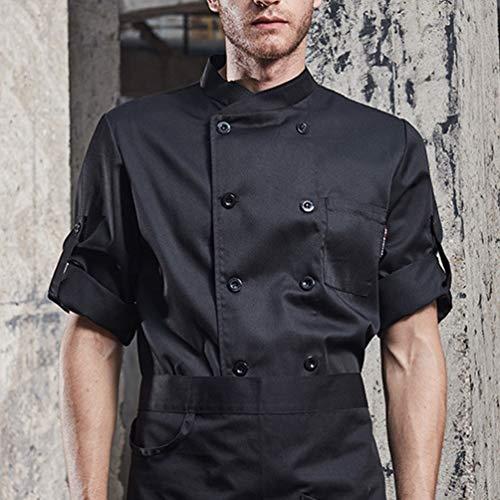 Dexinx Unisex Erwachsene Köche Jacke Mantel Hotel Küche Uniform 3/4 Ärmeln Food Service Koch Arbeitskleidung Chefs Catering Bekleidung Schwarz XL - 2