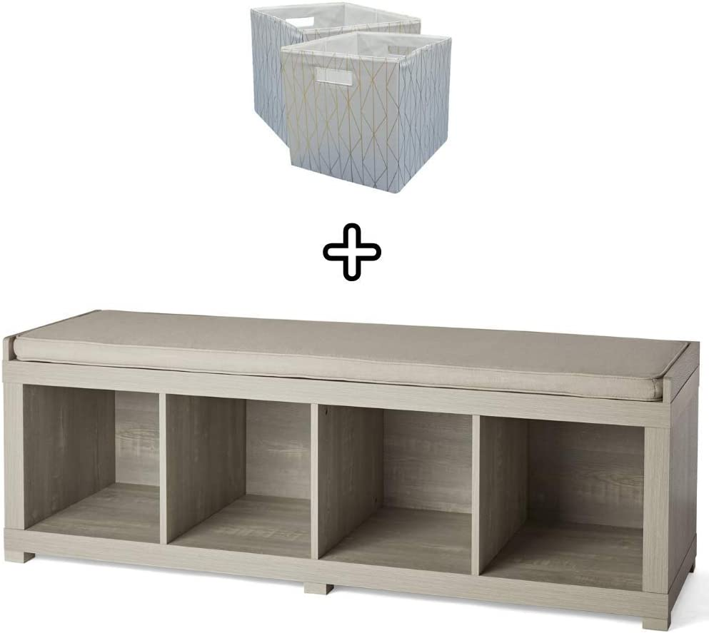 The Better Homes and Gardens 3 Cube Storage Bench Espresso