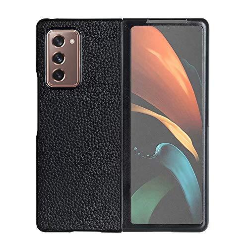 USPANDI Couverture for Galaxy Z Fold2 Couverture en Cuir véritable de Cas complète Fit arrière for Samsung Galaxy Z Fold 2 5G (Color : Black)