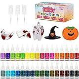 lenbest 32 Color Tie Dye Kit, Halloween Tie-Dye Kit Tinte para Ropa, con 150 Bandas de Goma 12 Guantes Plástico, Pinturas Textiles de Tela, Kit de Tinte Colorido, Adecuado para Camiseta, vestido etc.