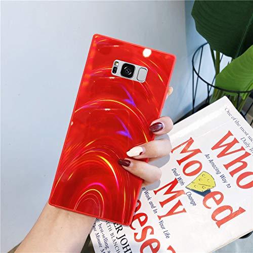 Herbests Kompatibel mit Samsung Galaxy S8 Plus Hülle Glitzer Glänzend Kristall Aurora Bunte Weich Silikon Handyhülle Ultra dünn Schutzhülle TPU Bumper Handytasche Crystal Case Cover,Rot