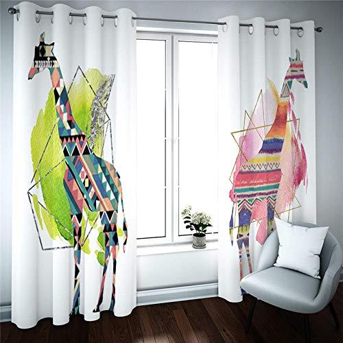 LOVEXOO Vorhang Abdunkelung Bunte Giraffe Vorhang Blickdicht 2er-Set Muster Gardine für Wohnzimmer Kinderzimmer Schlafzimmer 2 x B140 x H245cm