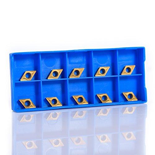 Insertos de torneado de carburo, insertos de puntas de carburo CNC de 10 piezas Herramienta de torneado de torno con cuchilla con caja, 0.5 x 0.29 x 0.10 pulgadas, insertos de torno CNC