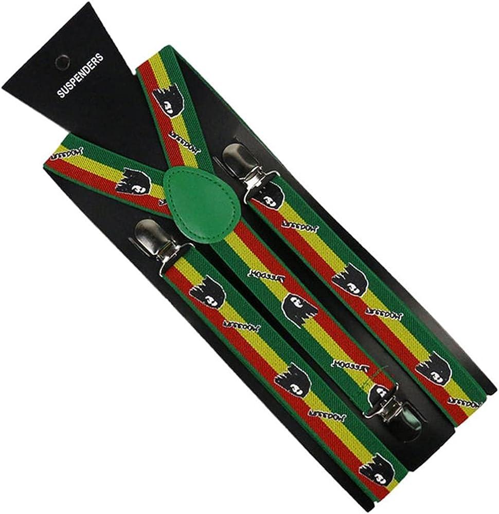 Unisex 2.5Cm Wide Black White Blue Striped Adjustable Men Womens Y-Back Suspenders