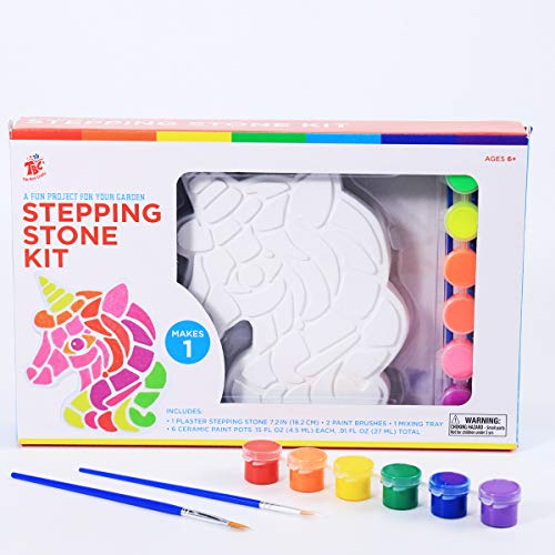 TBC The Best Crafts Paint Your Own Garden Stepping Stone Kit - Unicorn , Makes a Great Girl Gift, Creative Craft Kit & Fun DIY Art Set for Children