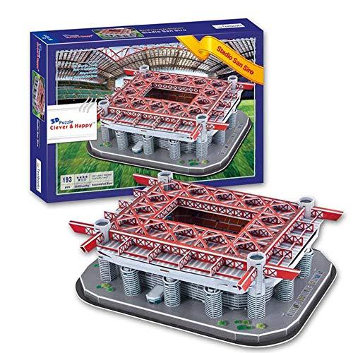 Rompecabezas de AC Milan en San Siro Estadio 3D Rompecabezas, Liga Italiana de Fútbol Modelo Estadio AC Milan Football Club