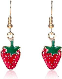 YOOE Creative Fruit Watermelon Strawberry Cherry Earrings. Cute Simulation Red Fruit Earrings, Sweet Summer Earrings for W...