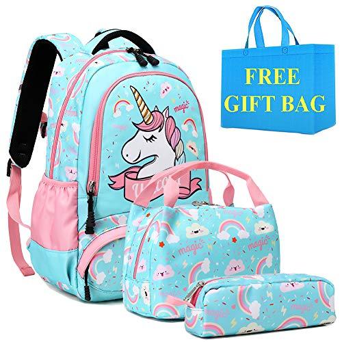 Mochilas Niña Infantiles Mochila Unicornio Niño Mochilas Niñas Escolares Primaria Cute 3 in 1 Girls Backpack Set,Bolsas Escolares para Niña