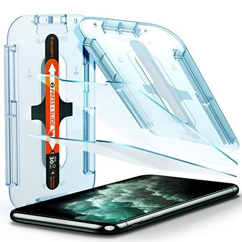Spigen Glas.TR Ez Fit Vetro Temperato Compatibile con iPhone 11 PRO Max, iPhone XS Max, 2 Pezzi, Resistente ai Graffi, Durezza 9H Pellicola prottetiva