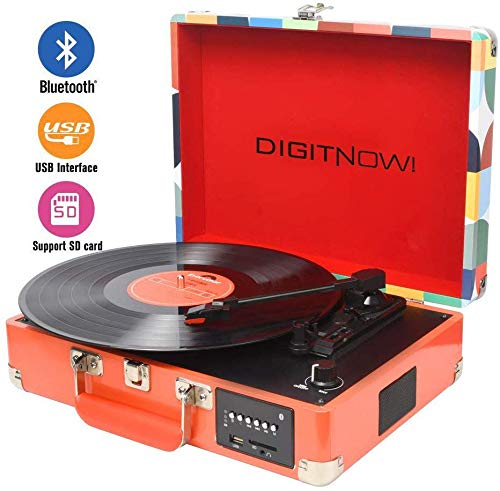 DIGITNOW! Bluetooth Vinyl / LP Schallplattenspieler mit stilvollen Koffer Plattenspieler, Multifunktions FM Radio, USB zu MP3 Recorder / Player