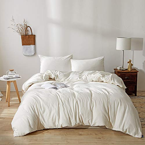 BFS HOME Stonewashed Cotton/Linen Queen Duvet Cover, 3-Piece Comforter Cover Set, Breathable and Skin-Friendly Bedding Set (Off-White, Queen)