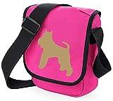 Bolsa para perro Schnauzer en miniatura, bolsa para reportero, bolsa de hombro, silueta Schnauzer de Schnauzer, regalo de colores a elegir (perro de camarón, bolsa rosa)