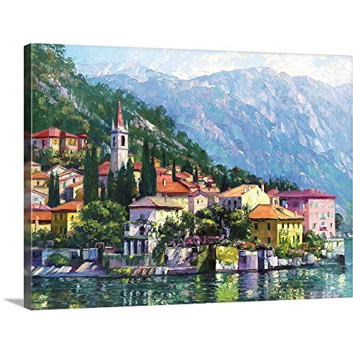 "Reflections of Lake Como Canvas Wall Art Print, 48""x36""x1.25"""