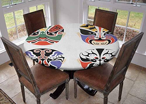 Ronde tafelkleed keuken decoratie, tafelblad met elastische randen, Japanse Nogaku Theatrale Maskers Tonen Emotions Expressions Cultuur Zwart en Wit, Banket tafelkleed