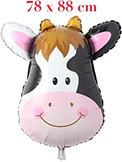 Huge Animal Head Safari Foil Balloon Inflatable Air Ballon Happy Birthday Christmas Party Decorations Kids Baby Shower Party Supplies (Huge Cow Head)