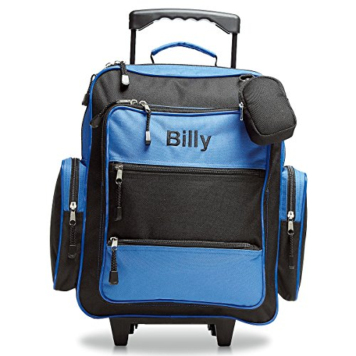 """Personalized Rolling Luggage for Kids – Blue & Black Design, 5"""" x 12' x 20'H, By Lillian Vernon"""