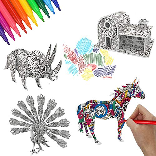 OundarM Coloring 3D Paper Arts and Craft Kit 4 Paper Puzzles 3D with 10...