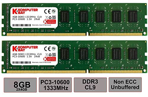 Komputerbay 8GB (2X4GB) DDR3 DIMM (240 pin) 1333MHz 1.35~1.5V PC3-10600/PC3-10666 8 GB KIT Unbuffered DIMM CL 9