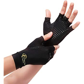 Premium Care Copper Compression Arthritis Gloves - 88% Infused Copper Content Gloves for Pain Relief of Swelling, Arthritis, Carpal Tunnel - Daily Healing Support for Men and Women's Hands (Medium)