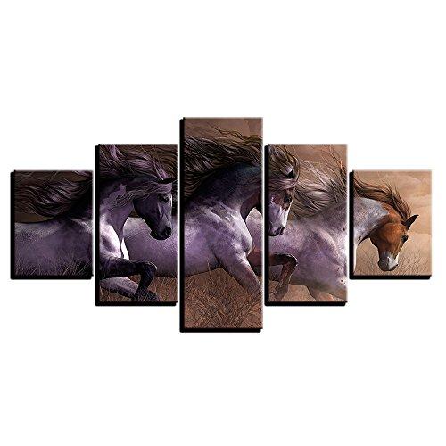 moderne leinwand gemälde wohnzimmer wand kunst modulare hd druckt bilder 5 stück tier pferde rennen plakate home decor rahmen inkjet - wall - painting,15.7x23.6inch,15.7x31.5inch,15.7x39.7inch
