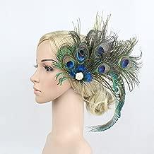 AJON Frauen Fascinator Haarspange Pfau Feder Kopfbedeckungen Weihnachten Derby Hochzeit Cocktail Tea Party Stirnband Pillbox Hut