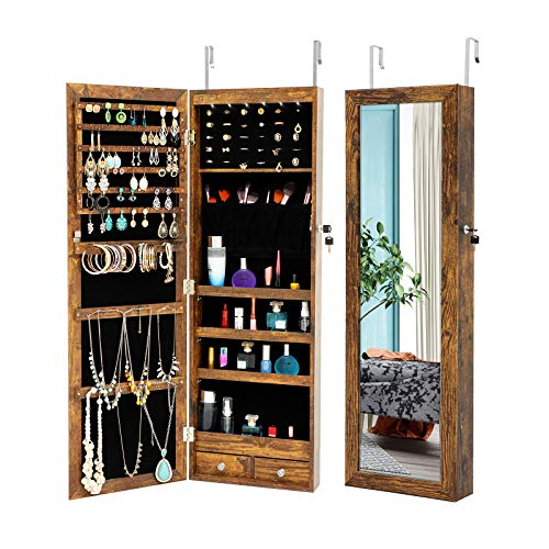 MIYACA 6 LEDs Jewelry Mirror Armoire Organizer Lockable Jewelry Cabinet WallDoor Mounted with Full Length Dressing Mirror and Larger Capacity