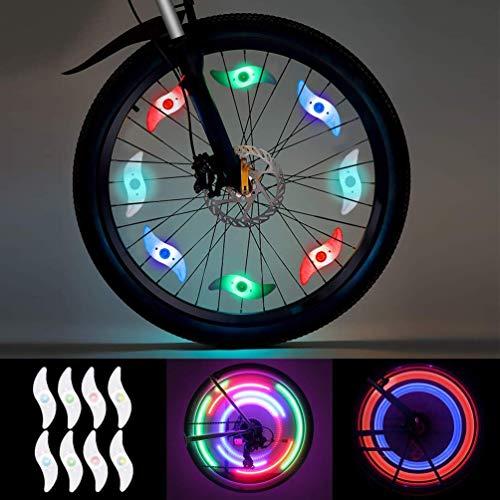 LEDGLE LED Wielverlichting 8 Stuks (Rood, Groen, Blauw, Veelkleurig) Spaaklicht Wiel Spakenfiets voor Mountainbike Hybride Fiets Volwassenen en Kinderen, LED Waterdichte Neonbandlamp met 3 Standen