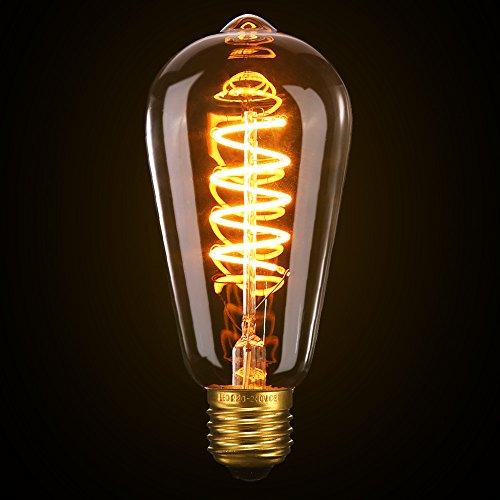 Ampoule Edison,Elfeland 3W Ampoule LED E27 Vintage Lampe Décorative Antique Spirale Filament 2200K 180LM Lumière Blanc Chaud Convient à l'éclairage Rétro et Nostalgique Lampe Murale Modèle ST64