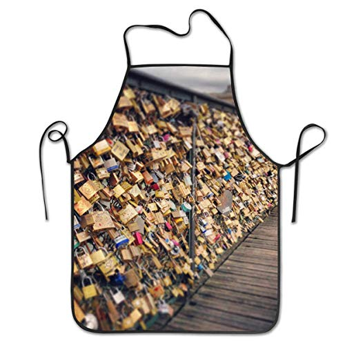 dfhfdsh Küchenschürze,Grillschürzen,Pont des Arts Bridge Fashion Aprons for Women Men Girls - Custom Cooking Waist Chef BBQ Adjustable Waterproof Apron Waiter Apron