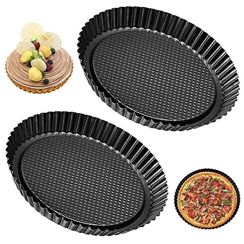 LKNBIF Molde de Quiche 2 Pcs Quiche Tart Pan Antiadherentes Molde para Tartaletas Se Puede Utilizar para Hacer...