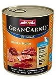 animonda GranCarno Junior cibo per cani, alimento umido per cani in crescita, manzo + pollo, 6 x 800 g