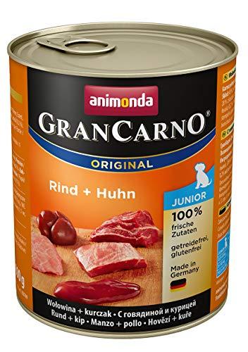 animonda GranCarno Hundefutter Junior, Nassfutter für Hunde im Wachstum, Rind + Huhn, 6 x 800 g