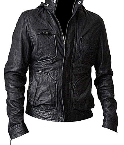 Mens Mission Impossible 4 Ghost Protocol Hunt Tom Cruise Black Biker Hooded Leather Jacket