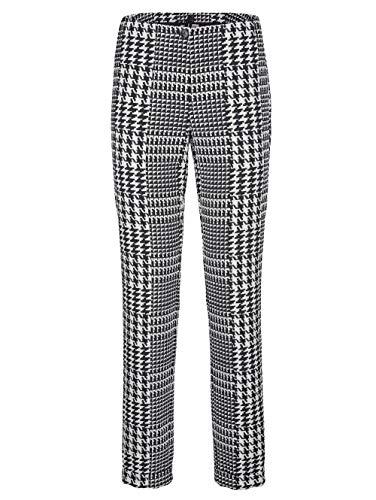 Alba Moda Damen Slim Fit Lange Hose mit Hahnentritt-Muster in Schwarz