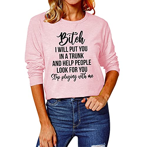 SLYZ Camisetas De Manga Larga De Otoño para Mujer, Tops con Estampado De Letras para Mujer, Camisetas De Cuello Redondo con Fondo Suelto para Mujer