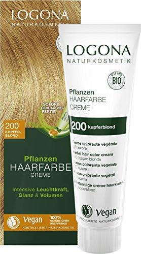 LOGONA Naturkosmetik Pflanzen-Haarfarbe Creme 200 Kupferblond, Blonde Natur-Haarfarbe mit Henna, Farbcreme, Dauerhafte Coloration, 150ml