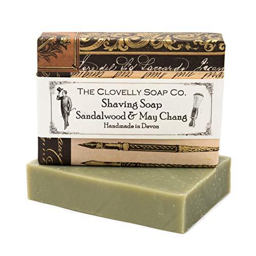 Clovelly Soap Co Natürliche handgemachte Rasierseife Sandelholz & May Chang für alle Hauttypen 100g