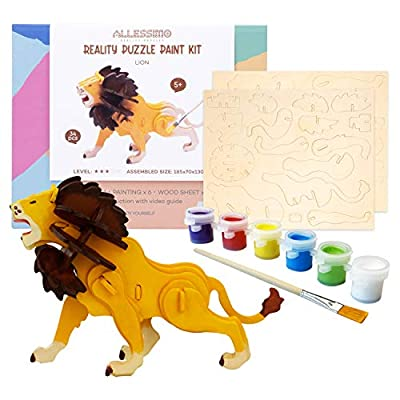 Allessimo 3D Paint Puzzle Reality Wooden (Lion - 34pcs) Model Paint Kit with Brush Toys for Kids Puzzle Build 3D Puzzles Educational Fun Crafts Building DIY