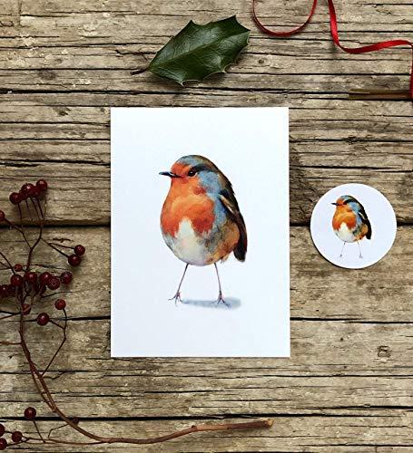 Rotkehlchen Grußkarte, Ostern Karte Set aus 2 Teilen, Karte und Sticker, Postkarte A6 Papeterie Set mit Vogel Motiv