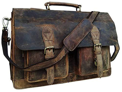 Businesstasche Aktentasche Bremen Arbeitstasche Bürotasche Umhängetasche Qualität 18 Laptoptasche Ledertasche Vintage Uni Collegetasche Ordner Braun Herren Damen Groß XXL