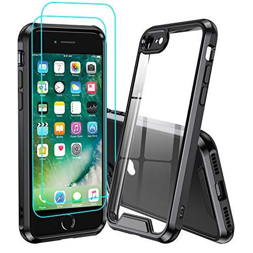LeYi Coque pour iPhone Se 2020/iPhone 8/iPhone 7 avec 2 Verre Trempé, Etui de Protection Transparente Antichoc Anti-Rayures Bumper TPU Silicone et PC Rigide Housse Noir