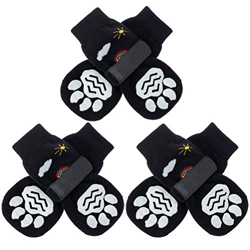PUPTECK Double Sides Anti-Slip Dog Socks, 3 Pairs Cute Soft Paw Protector with Adjustable Straps,...
