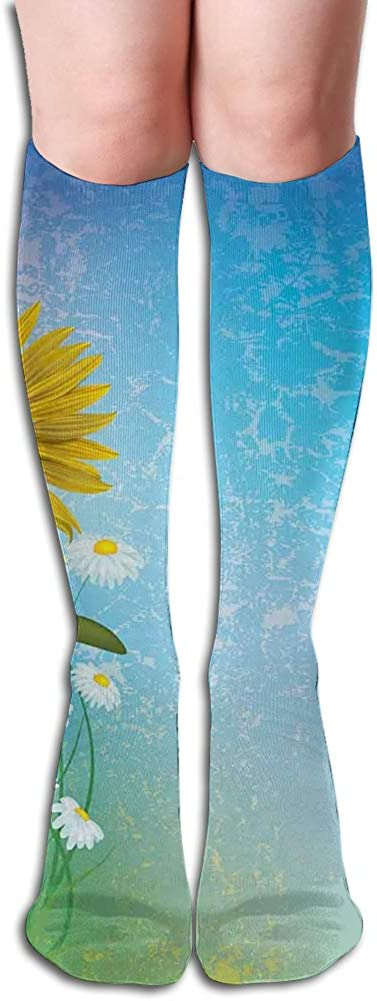 Men's and Women's Funny Casual Combed Cotton Socks,Grunge Floral Illustration with Sunflower and Chaomiles Pastel Summertime Art