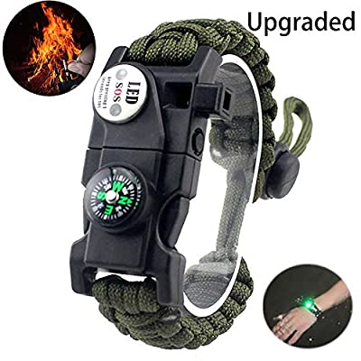 daarcin Adjustable Survival Paracord Bracelet, AK87 20 in 1,Ultimate Tactical Survival Gear Set? with Waterproof SOS Light, Compass, Whistle, Fire Starter?Outdoor Lifesaving Bracelet (Green)