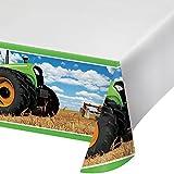 Creative Converting Festive Tractor Time Border Print Plastic Tablecover, 54' x 102', Multicolor