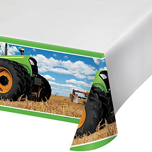 Creative Converting Festive Tractor Time Border Print Plastic Tablecover, Party Décor, 54