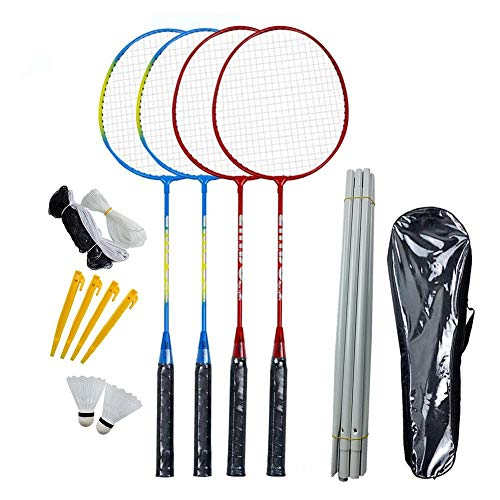 Badmintonschläger 4er Pack, Badminton-Set Inklusive 2 Badminton-Taschen / 4 Schläger / 4 Nylon-Badminton, Badmintonschläger-Set mit Netzmast für das Backyard Beach Game