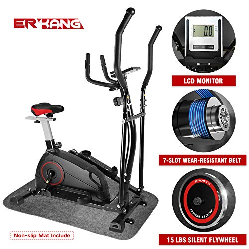 ER KANG Elliptical Machine Trainer - Adjustable 8 Levels Resistance and Seats, with...